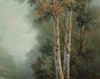 Birch Mountain, Original Fine art, Acrylic Paintin, Tonalist,  by Griselda Tello.