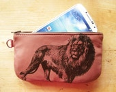 SALE Lion Phone Case Pencil Case Leather Pouch Dusty Rose