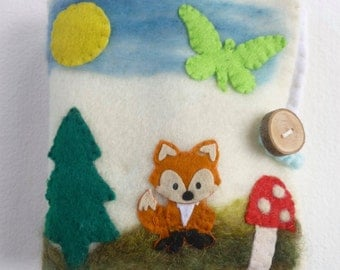 Wool booklet felted gnome play set Waldorf inspired Quiet book Ready to ship
