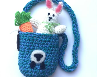Knit bunny in a pouch set Waldorf inspired ready to ship
