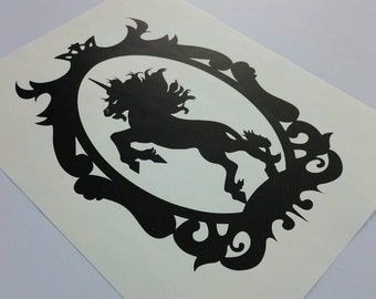 Rearing unicorn wall art, fantasy art, digital download PDF, instant wall art, mythic creature art - instant download unicorn silhouette
