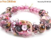 Boxing Week Sale Blackberry Crush Mixed Set - Handmade Artisan Lampwork Glass Beads - Purple, Pink, Green - SRA (Set of 17 Beads)