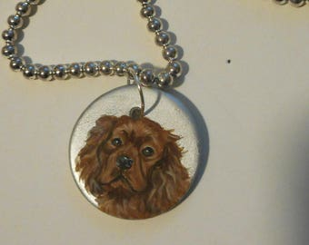 Cavalier King Charles Spaniel Dog Hand Painted Ceramic Pendant Beaded Necklace