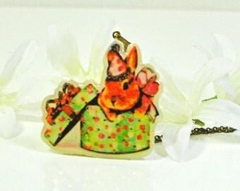 Present Bunny Pendant Rabbit Pendant Princess - Bunny Jewelry - Rabbit Necklace - Bunny Rabbit Inspired - Bunny Necklace