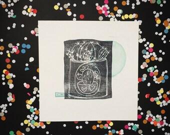 Cactus print - cactus art print - blockprinting cactus original art - black green handprinted artwork