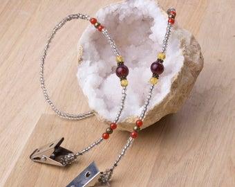 Napkin clips chain - Red agate and brown bead napkin chain | napkin cord | serviette holder
