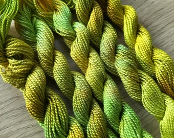 Stitch Happy hand dyed embroidery thread - Lime Slushie