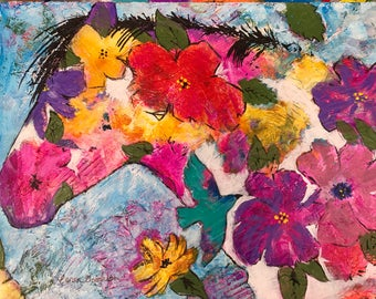"""Horse And Flowers Original 12""""x16"""" Painting by Caren Goodrich"""