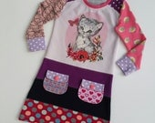 Size 3 upcycled toddlers pussycat dress, girls clothing, children's clothing,  gift, girls dress, ooak, retro, girls clothes, unique