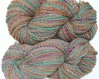 Handspun Handdyed Yarn Merino wool & Yak, plied yarn