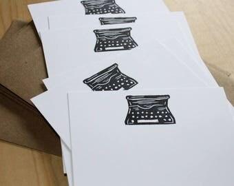 Old School Typewriter Stationery - Typewriter Note Cards - Writer Stationery Gift - Hand Printed Stationery - Set of 6
