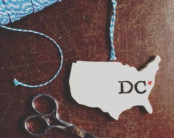 Washington DC Pottery Ornament - Ready to Ship!