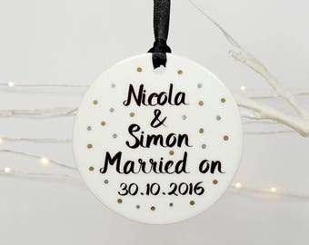 personalised Married on Ceramic decoration keepsake, wedding day gift, wedding keepsake, personalised wedding gift, Christmas decoration
