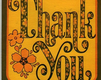 Thank You Notecards (Set of 6) Yellow, Orange, and Brown Flower Design - American Greetings - 1972 - Vintage Stationery Set