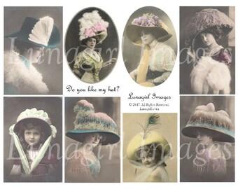 VICTORIAN LADIES HATS, digital collage sheet, vintage images, vintage photos women girls, big hats, postcards, altered art ephemera Download