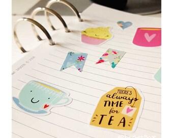 A6 Afternoon Tea vinyl sticker sheet