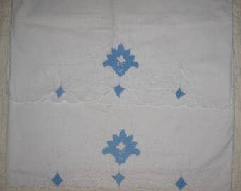 Vintage Pillowcases Pillowslips, White with blue flowers, applique, cut out fabric, eyelet, scalloped edges, delicate fabric work