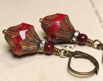Red Opal Glass Drop Earrings Vintage Style Art Deco Inspired