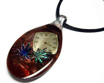 Resin Spoon Pendant -  420 Time -  Altered Art Necklace 1