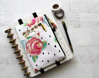 Floral planner bag - planner accessories pouch - roses - pencil bag - BUJO cover - zipper pouch - floral pencil pouch - planner cover
