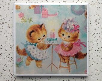 Vintage Kitten Birthday Coaster