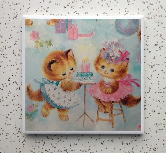 Vintage Kitten Birthday Coaster