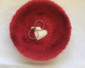 Red Valentine Felted Ring Bowl