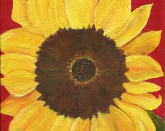 Sunflower acrylic painting original 8 x 10 canvas panel sunflower painting, flower artwork, sunflower art, sunflower decor, Farmhouse decor