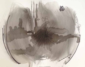 Art Original Painted Black Ink Wash Painting Modernism Wall Decor 9x12 - RMar