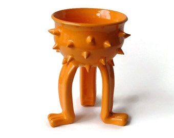 Ceramic Planter Pot - Orange Grouchy Planter Pot with Spikes and Sculpted Feet - Spiked Succulent Planter