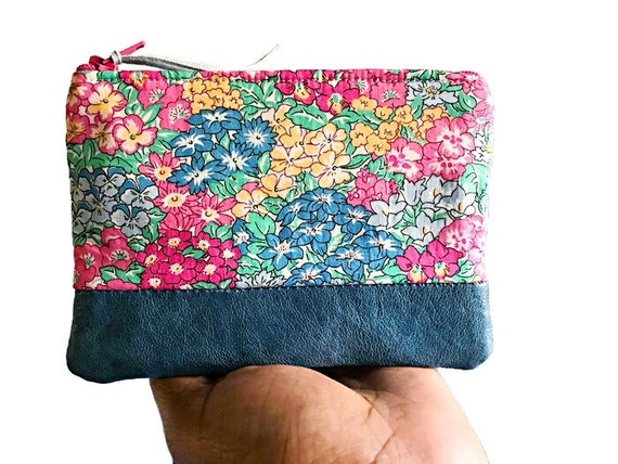 Floral Blue Leather Coin Purse, Small Wallet, Leather Purse, Change Purse, Leather Coin Pouch