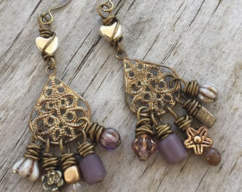 REPURPOSED CHANDELIER Earrings with MISMATCHED beads in Purples, Lavenders, Hearts & Flowers