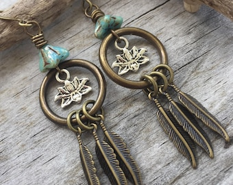 Chandelier LOTUS Earrings in Sage GREEN Boho Flowers and FEATHERS