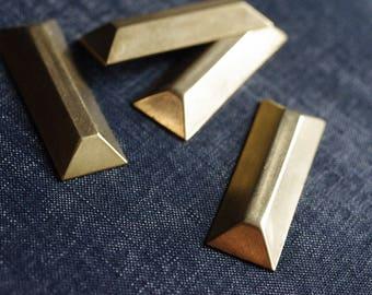 Large 47x16mm Faceted Rectangle Bar Stampings - 6pcs - Raw Brass - Gold Bar - Brass Rectangle Embellishment - Metallic Gem - Baguette