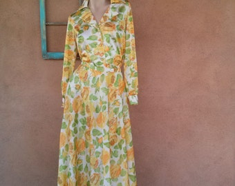 Vintage 1970s Dress Blouse Maxi Skirt 70s Vanity Fair Hostess Loungewear 2 Piece Sz S