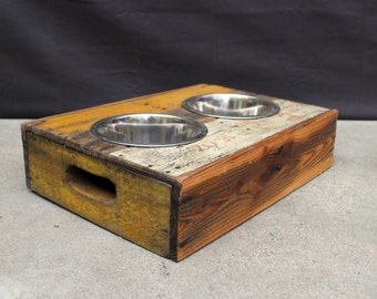 Elevated Vintage Wood Crate Dog Feeder.  No. 5.