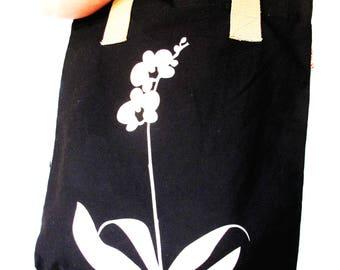 SALE Black Orchid Shoulder Tote Bag
