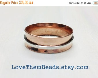 On Sale Copper & Sterling Silver Spinner Ring, worry, fidget, meditation, spinning, turning, thumb, index or middle finger, copper for arthr