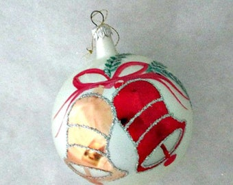 Poland Vintage Large Glass Ball Christmas Ornament - Bells on Large Glass Ornament