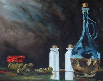 Still Life with Olives Original Oil Painting by Kathleen Farmer