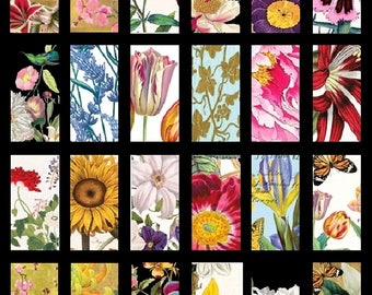 Fabulous Flowers No. 3 - 1x2 - Digital Collage Sheet - Instant Download