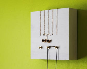 PERCH no1 WHITE - necklace jewelry holder rack display organizer hanger wood frame wall home decor modern minimal brass gold metal