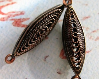 Vintage Brass and Steel Filigree Pod Connectors in Chestnut - 1 pair - 27 by 10mm