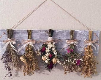 Dried flower rack with flowers, country chic, home decor, farmhouse decor, rustic home decor, dried flowers, kitchen decor