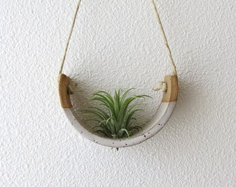 Small Hanging Air Plant Holder - Speckle Stoneware Planter Dipped in Gloss White
