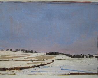 Blush, Original Winter Landscape Painting on Paper, Stooshinoff