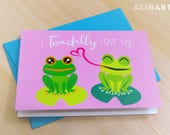 Animal Pun Illustrated Greeting Card - I Toadally Love You - Toad - Frog - Friendship, Love, Valentine, Anniversary, Mothers Fathers Day