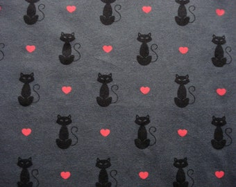 I Love My Black Cat Knit Fabric