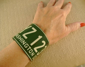 Bye and Bye - Vintage Washington State 1959 Bicycle Tag License Plate Recycled Repurposed Jewelry Cuff Steampunk Bracelet