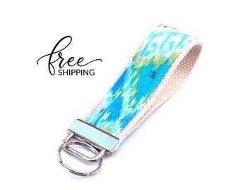 Key Fob Keychain Wristlet | Fabric Keychain with Blue Green Ikat | Free Shipping